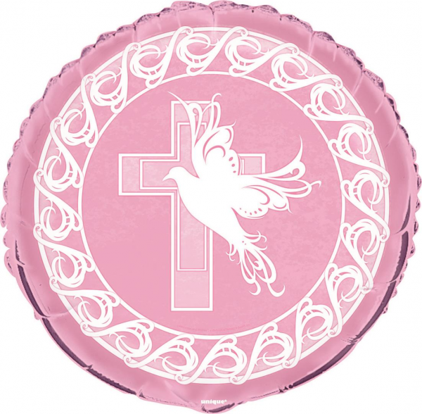 "Communion/Christening Pink 18"" Foil Balloon"