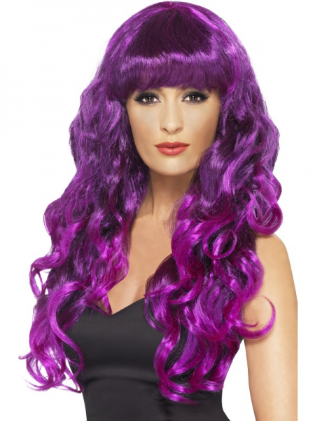 Purple & Black Long Curly Siren Wig with Fringe