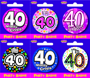 Age 40 Small Badges - Mixed Gender