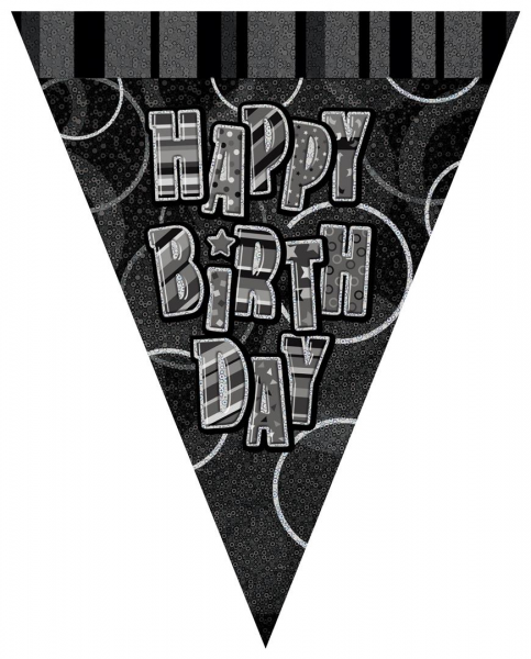 Happy Birthday Black & Silver Holographic Pennant Bunting