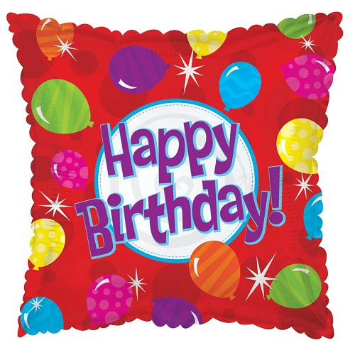 "Happy Birthday Square 18"" Foil Balloon in Red with Balloons"