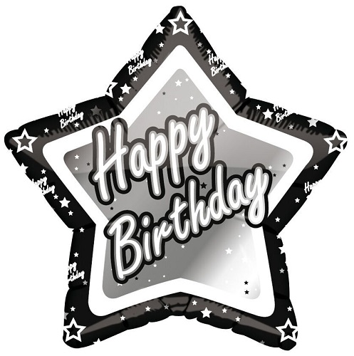 Black & Silver Star Shaped Happy Birthday Foil Balloon B97847