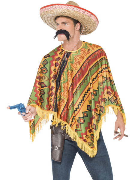 Mexican/Aztec Style Poncho With Moustache