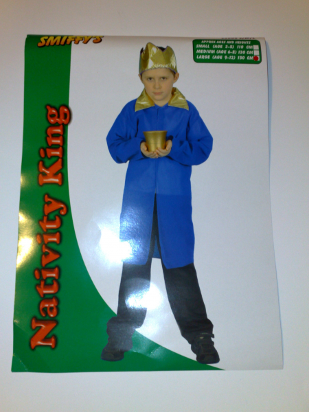 Nativity King Wise Man Child's Costume in Blue