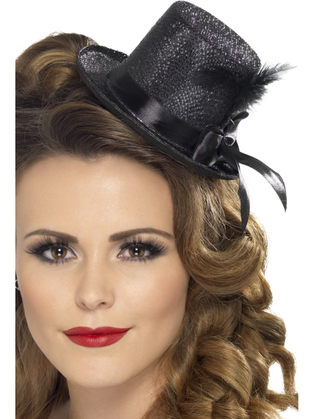 Black Mini Tophat with Feathers & Ribbon