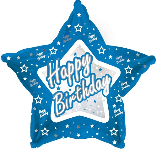 Happy Birthday Blue Star Shape Foil Balloon B98860