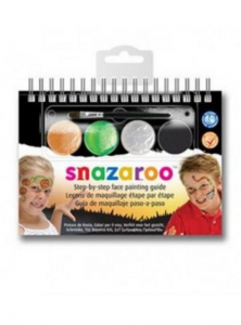 Snazeroo A6 Face Painting Instruction Booklet With 4 Face Paints