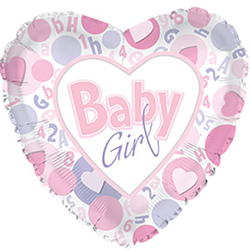 "18"" Baby Girl Heart Shaped Foil Balloon"