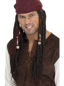 Pirate Wig & Scarf with Plaits in Brown