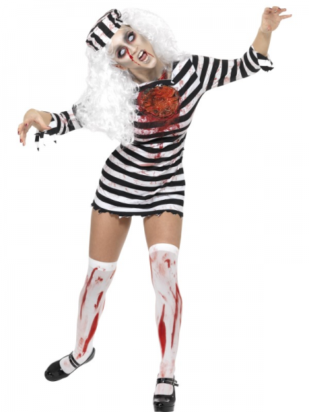 Zombie Convict Lady's Halloween Costume