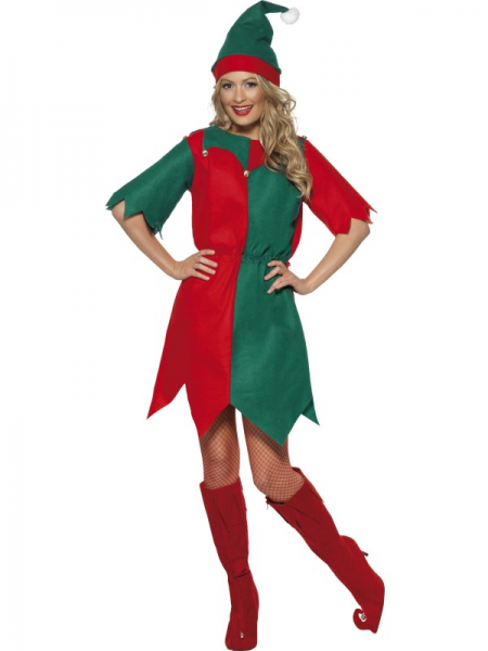 Christmas Ladies Elf Costume in Red & Green with Hat