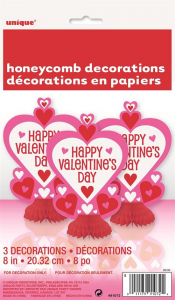 Happy Valentines Day Honeycomb Table Decorations
