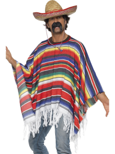 Mexican Poncho Multi Coloured Stripes with Fringe Adult Size