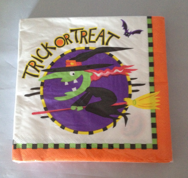 Witch on a Broomstick Trick or Treat Napkins
