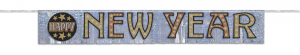 Happy New Year Fringe Banner in Black Gold & Silver
