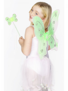 Child's Green Butterfly Wings with Wand