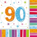 90th Radiant Birthday Napkins Pack of 16