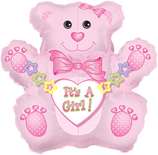 it's A Girl Pink Teddy Bear Foil Balloon