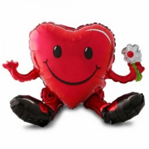 Smiley Sitting Heart Guy Foil Balloon - Air Inflated