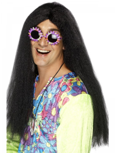 Hippy Wig Long Black with Centre Parting