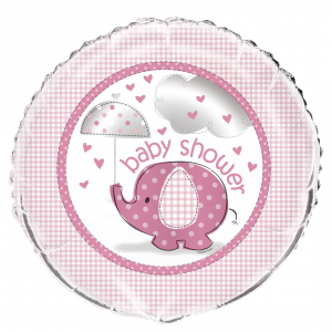 "Pink Elephant Baby Shower 18"" Foil Balloon"