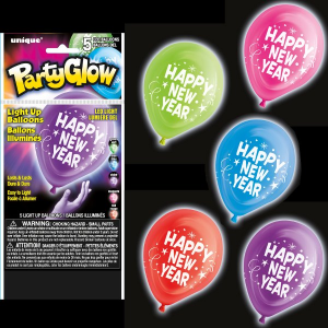 5 Happy New Year, Party Glow, LED, Light Up Balloons