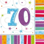 70th Radiant Birthday Napkins Pack of 16