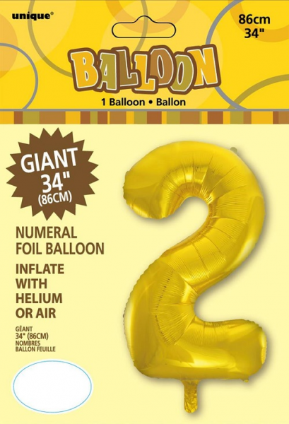 Large Gold No 2 Shaped Foil Balloon