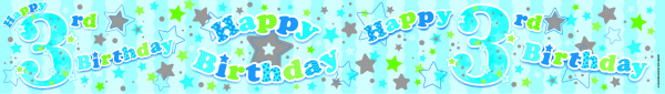 Happy 3rd Birthday Blue Holographic Banner