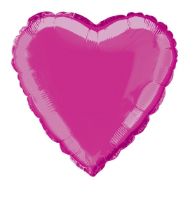 Hot Pink Heart Shaped Foil Balloon