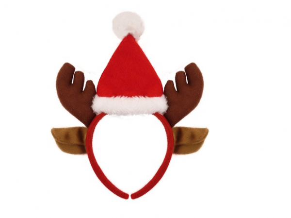 Mini Santa Hat on Headband with Reindeer Ears & Antlers