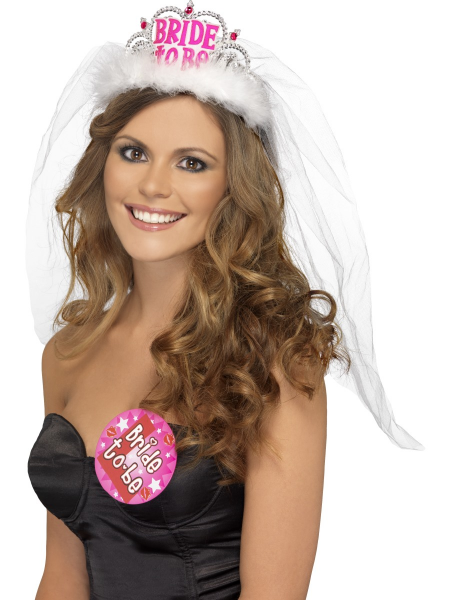 Bride To Be Tiara with Veil in White With Pink Lettering