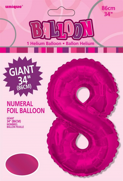 Large Pink No 8 Shaped Foil Balloon