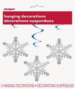 Snow Flake Hanging Decoration In Blue & Silver