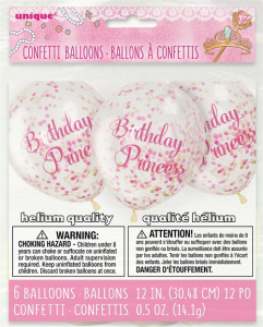 "Birthday Princess 12"" Latex Balloons with Pink Confetti"