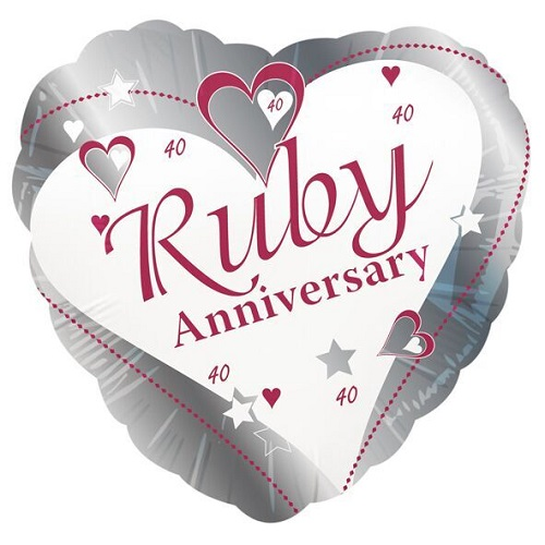 "Ruby Anniversary 18"" Heart Shaped Foil Balloon"