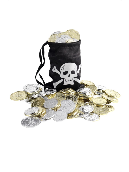 Pirate Coin Bag with Coins