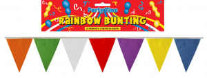 Rainbow Bunting 25 Pennants 7 Meters Long