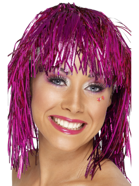 Pink Tinsel Metallic Wig