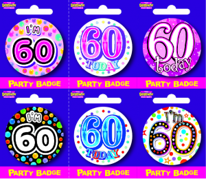 Age 60 Small Badges - Mixed Gender