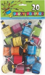 20 Multi Coloured Party Poppers
