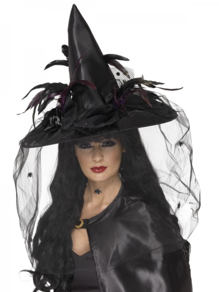 Witch's Hat Deluxe with Feathers & Netting