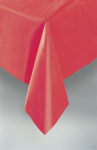 Ruby Red Plastic Table Cover