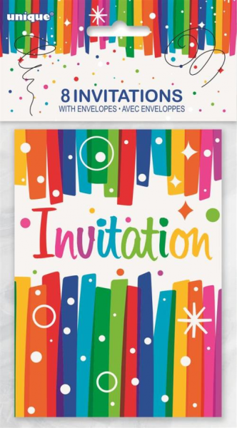 Multi Coloured Party Invitations