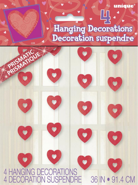 Hanging Red Heart Prismatic Heart Decorations