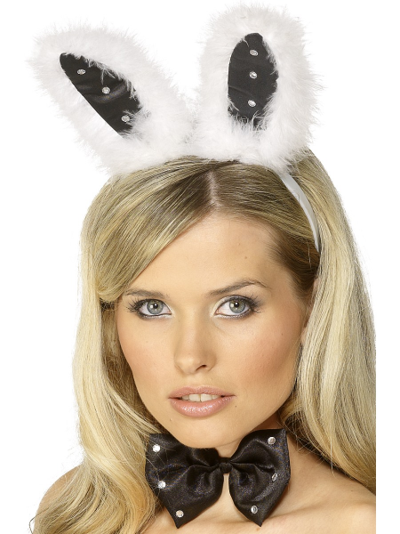 Ladies Bunny Set In Black & White with Diamante