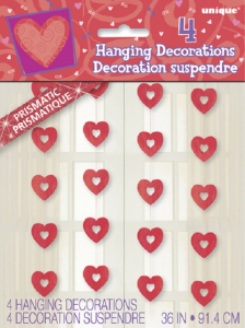 4 Red Prism Hearts Hanging Dec