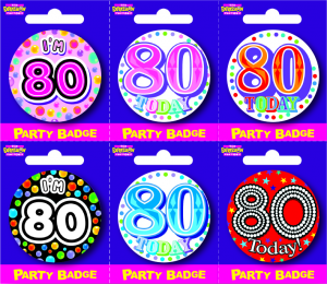 Age 80 Small Badges - Mixed Gender