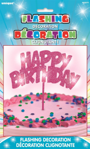 Pink Flashing Sparkly Happy Birthday Cake Decoration