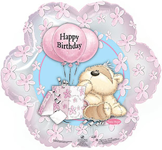 "Happy Birthday Fizzy Moon with Bear & Presents 18"" Foil Balloon"